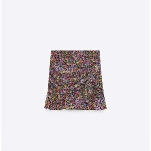 Zara Floral Print Draped Mini Skirt
